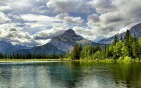 Картинка лес, Канада, облака, Альберта, озеро, Canada, Mount McGillivray
