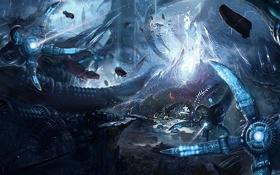 Картинка лучи, камни, механизм, робот, арт, щупальца, под водой