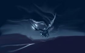 Обои полет, луна, дракон, blur