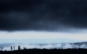 Картинка туман, холмы, туча