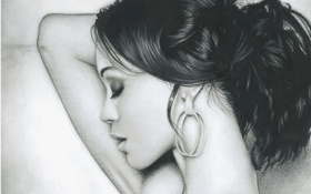 Картинка девушка, серьги, Zoe Saldana, макияж, волосы, профиль, живопись