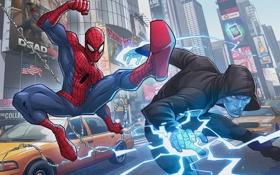 Обои рисунок, арт, Electro, Peter Parker, PatrickBrown, Max Dillon, The Amazing Spider-man 2