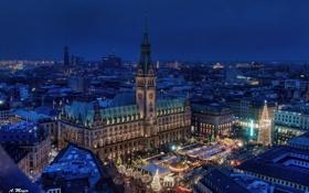 Обои здания, Германия, площадь, ночной город, Гамбург, Germany, ратуша