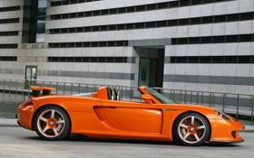 Обои оранжевый, Porsche, спойлер, кабриолет
