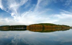 Обои небо, вода, деревья, природа, озеро, фото, обои
