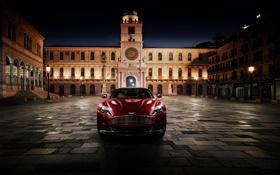 Обои Aston Martin, Красный, Ночь, Город, Площадь, Vanquish, Передок