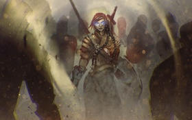 Обои доспех, воин, девушка, арт, меч, фэнтези