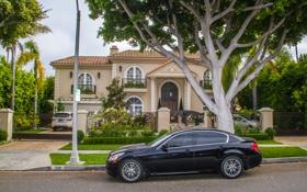 Картинка деревья, дом, улица, Калифорния, США, автомобили, Beverly Hills