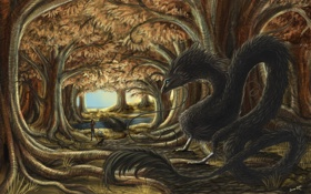 Картинка лес, фантастика, дракон, фэнтези, арт, девочка, unexpected meeting