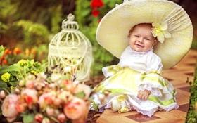 Обои лето, радость, счастье, детство, улыбка, шляпа, девочка