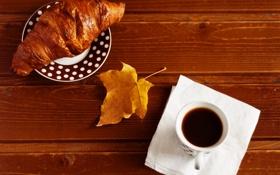 Картинка жёлтый, стол, кофе, чашка, кленовый лист, блюдце, салфетка