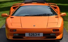Картинка оранжевая, ламбо, lamborghini, вид спереди, diablo, красивая машина, диабло