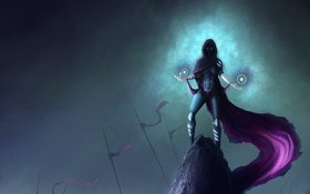 Обои магия, камень, Девушка, доспехи, флаги, плащ, волшебница