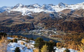 Картинка осень, лес, небо, облака, снег, горы, Швейцария