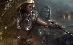 Обои взгляд, девушка, металл, фантастика, волосы, арт, броня