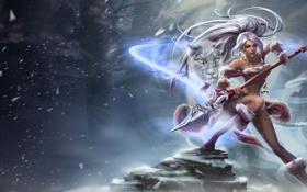 Обои холод, кошка, девушка, снег, копье, league of legends, nidalee