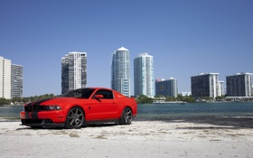Обои mustang, red, ford, beach, miami