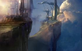 Картинка облака, город, фантастика, обрыв, скалы, высота, арт
