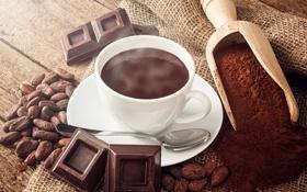 Обои кофе, шоколад, зерна, напиток, chocolate, какао, drink