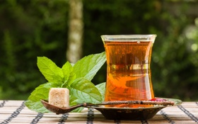 Обои листья, чай, ложка, сахар, мята