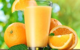 Обои апельсины, мята, дольки, orange juice, апельсиновый сок, mint, oranges