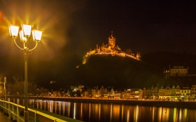 Обои ночь, город, река, фото, замок, Германия, фонари