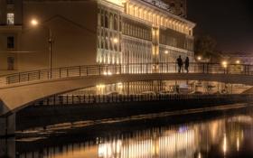 Обои вода, ночь, мост, река, люди, Москва, набережная