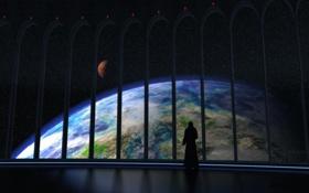 Обои космос, человек, вид, планета, арки, иллюминаторы