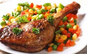 Обои курица, горох, помидор, морковь, peas, peppers, tomatoes