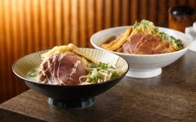 Картинка зелень, мясо, японская кухня, лапша