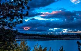 Обои США, June Lake, осень, Калифорния, деревья, река, вечер