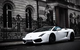 Картинка стоянка, auto, Lamborghini Gallardo, White, улица, cars, LP560 4