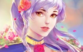 Обои девушка, цветы, лицо, волосы, розы, Арт