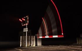 Картинка ночь, светофор, железная дорога, переезд