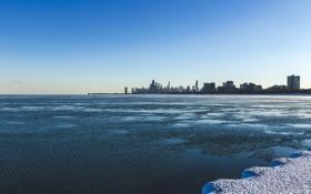 Обои зима, снег, здания, небоскребы, Чикаго, Мичиган, Chicago