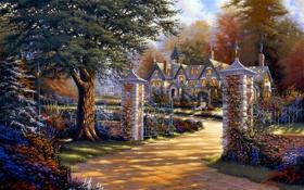 Картинка цветы, дом, дерево, забор, ворота, арт, Derk Hansen