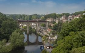 Обои пейзаж, мост, река, Англия, поезд, панорама, England