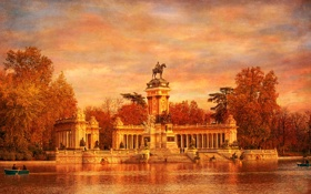 Обои небо, парк, Испания, холст, монумент, Мадрид