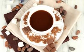Обои шоколад, чашка, сахар, белая, блюдце, какао, салфетки