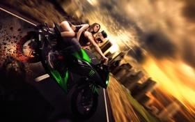 Обои девушка, мотоцикл, парень