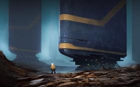 Картинка скалы, человек, планета, сооружение, скафандр, арт, башни