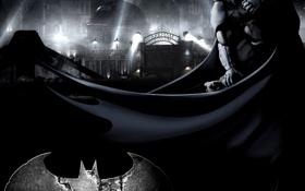 Картинка ночь, город, batman, лого, плащ, прожекторы, arkham city