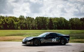 Картинка черный, autowallpaper, chevrolet corvette z06, шевролет корвет