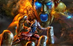 Обои Кратос, God of War 2, God of War II, Колосс Родосский, Крик, Бог Войны