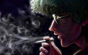 Обои дым, арт, очки, сигарета, художник, личность