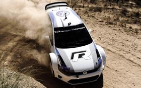 Обои пыль, занос, Volkswagen, WRC, передок, Фольксваген, гоночный болид