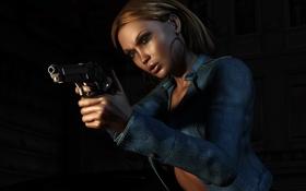 Обои девушка, пистолет, куртка, рендер, джинсовая