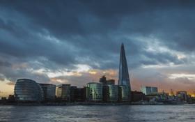 Обои небо, тучи, Англия, Лондон, башня, дома