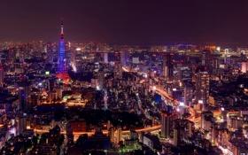 Картинка ночь, мост, город, огни, здания, дороги, небоскребы