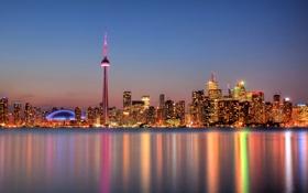 Обои небо, отражение, зеркало, Канада, Онтарио, Торонто, сумерки
